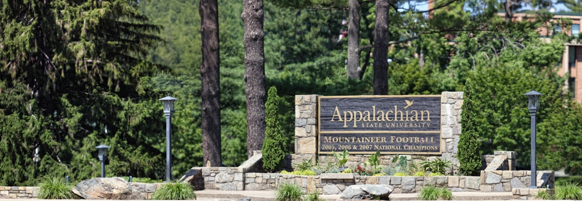 Appalachian State University welcome sign