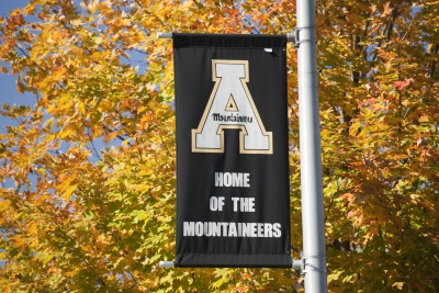 Appalachian State University light pole banner in front of fall leaves