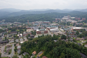 Aerial view of Appalachian State University campus